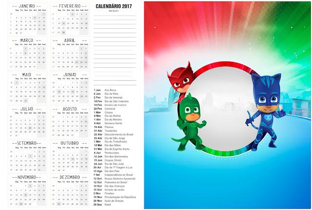 Calendario 2017 para imprimir gratis de Super Héroes en Pijamas.