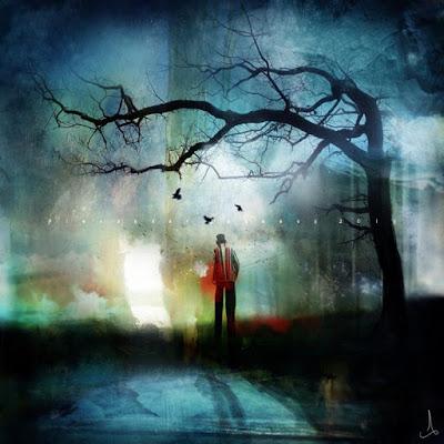 ambiance bleue, blue notes, pour ce tableau un brin nostalgique, un homme jeune d'allure, chapeau haut de forme marche seul vers le soleil couchant ? une aura rouge autour du coeur, il souffre, mais part tout de même vers son destin