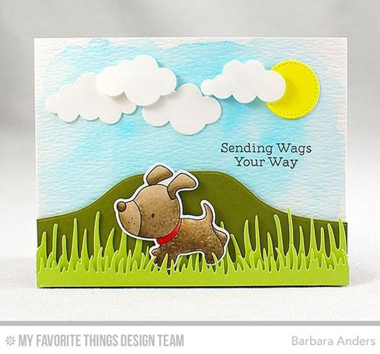 Handmade card from Barbara Anders featuring Playful Pups stamp set and DIe-namics, Grassy Edges, Scenic Safari, Puffy Clouds, and Blueprints 21 Die-namics #mftstamps