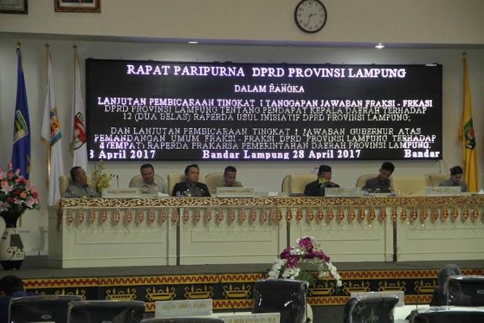 Sidang Paripurna Pemprov dan DPRD  Menetapkan 12 Reperda