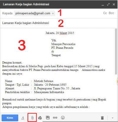contoh lamaran kerja via email pdf