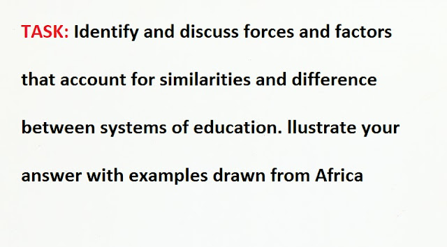 Forces and factors that account for similarities and difference between systems of education in Africa