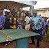 Ekiti state governor, Ayo Fayose, plays table tennis with residents of the state