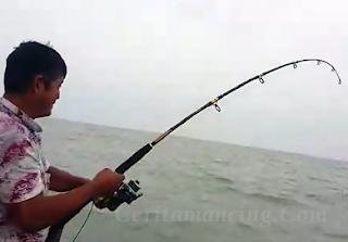 Gila mancing Dapat Ikan Gerut Besar