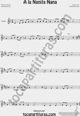A la Nanita NanaPartitura de Violín Sheet Music for Violin Music Scores Music Scores