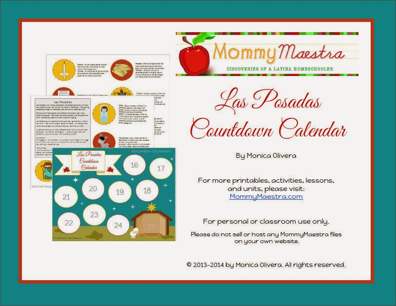photograph regarding Countdown Calendar Printable called Mommy Maestra: Las Posadas Countdown Calendar Printable