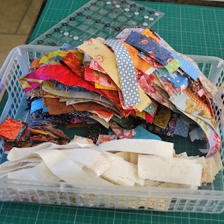 fabric strips for Omigosh quilt: QuiltBee