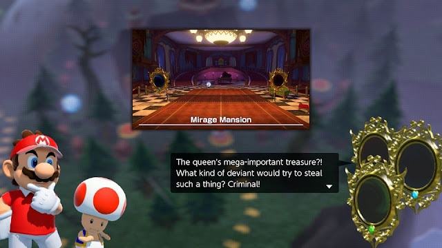 Mario Tennis Aces Mirage Mansion mirrors dialogue deviant criminal queen's treasure power stone