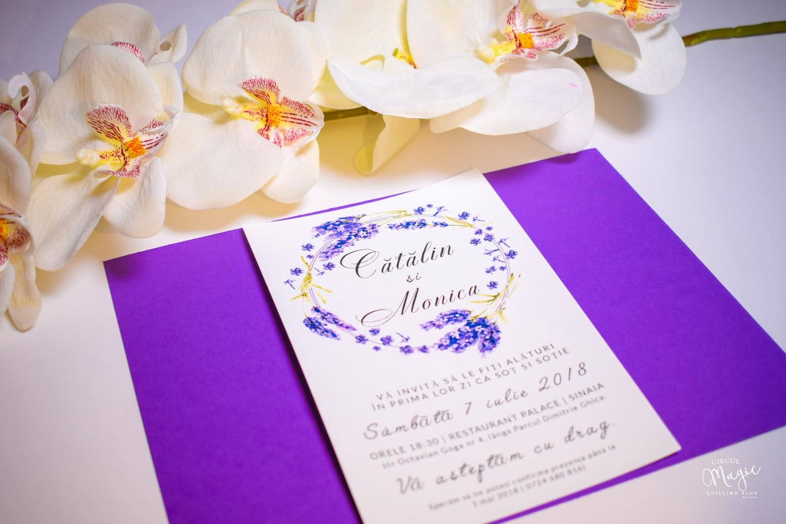 Invitatii Nunta Handmade cu Lavanda