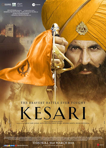 Poster Of Bollywood Movie Kesari 2019 300MB Pdvd Full Hindi Movie