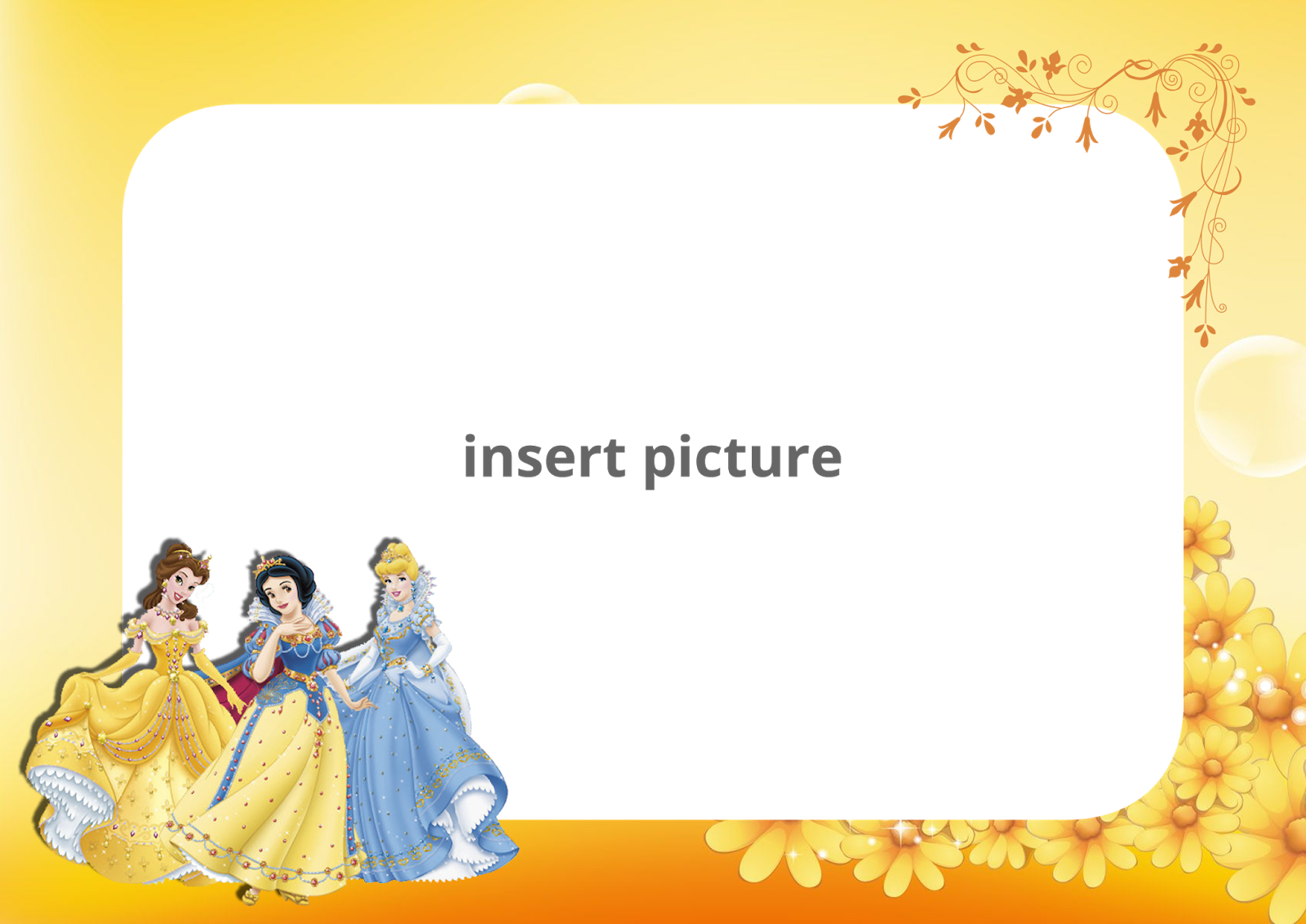 Disney Princess Yellow Floral PNG Frame - Printable PNG ...
