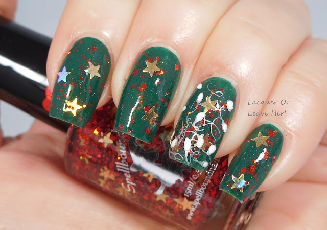 Spellbound Nails Christmas Morning + Winstonia Holly Jolly plate + Girly Bits stamping polishes