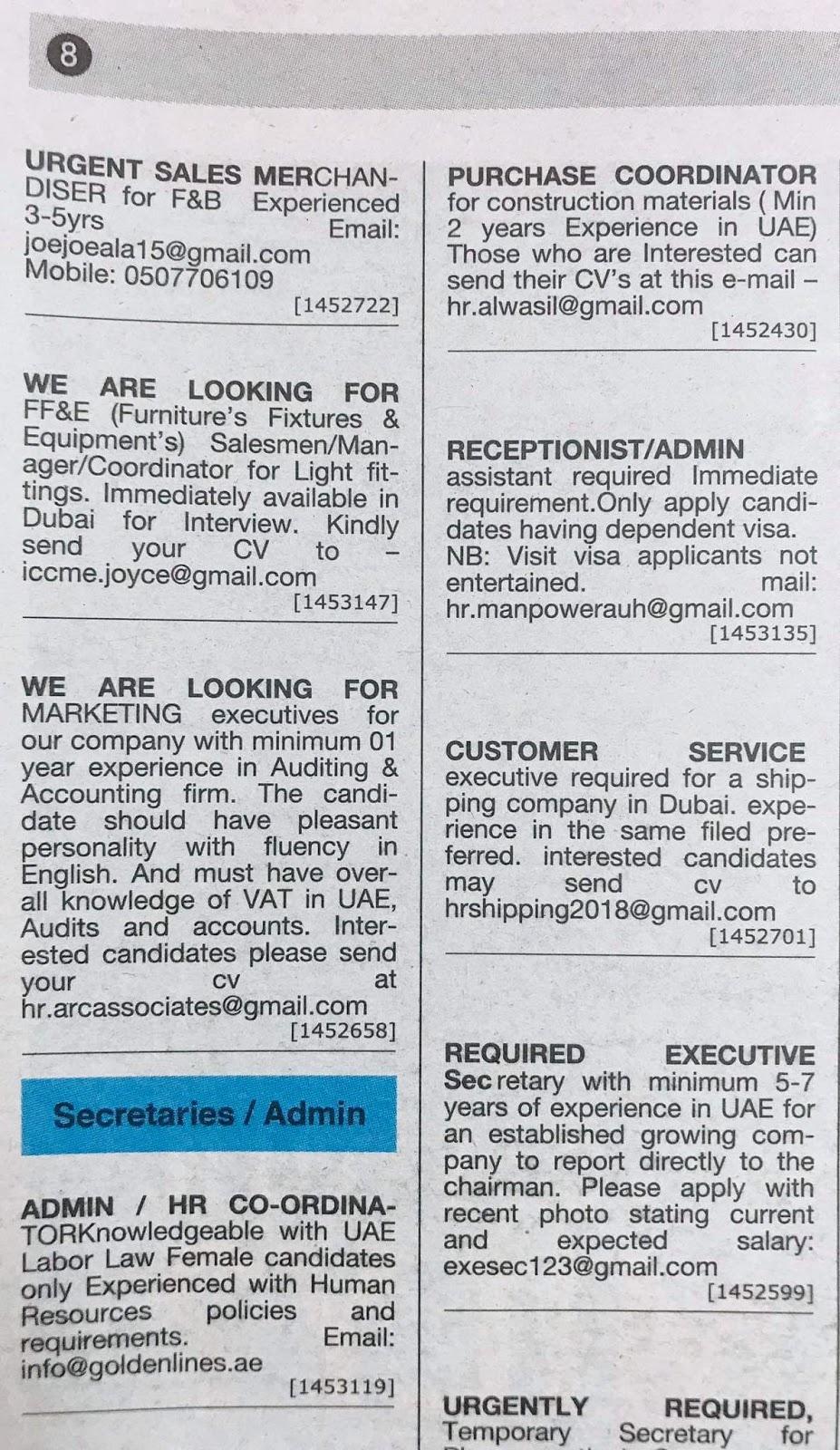 Required Admin HR Coordinator,Sales Merchandiser, Marketing, Etc UAE