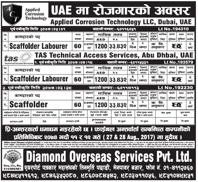Jobs in UAE for Nepali, Salary Rs 33,432