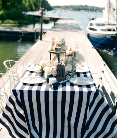 blue and white striped nautical tablecloth