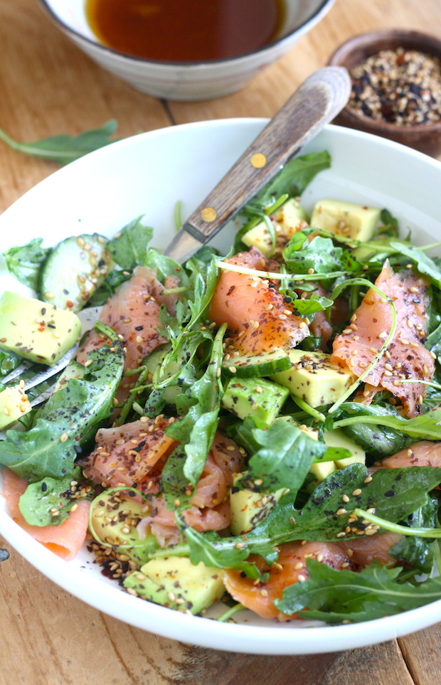 Smoked Salmon & Avocado Salad with Japanese Ponzu Dressing ...