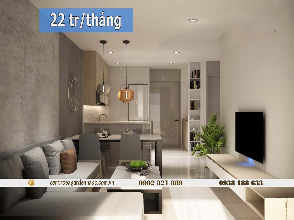 Căn hộ 1 phòng ngủ cho thuê HaDo Centrosa tầng cao | ảnh 3D 1
