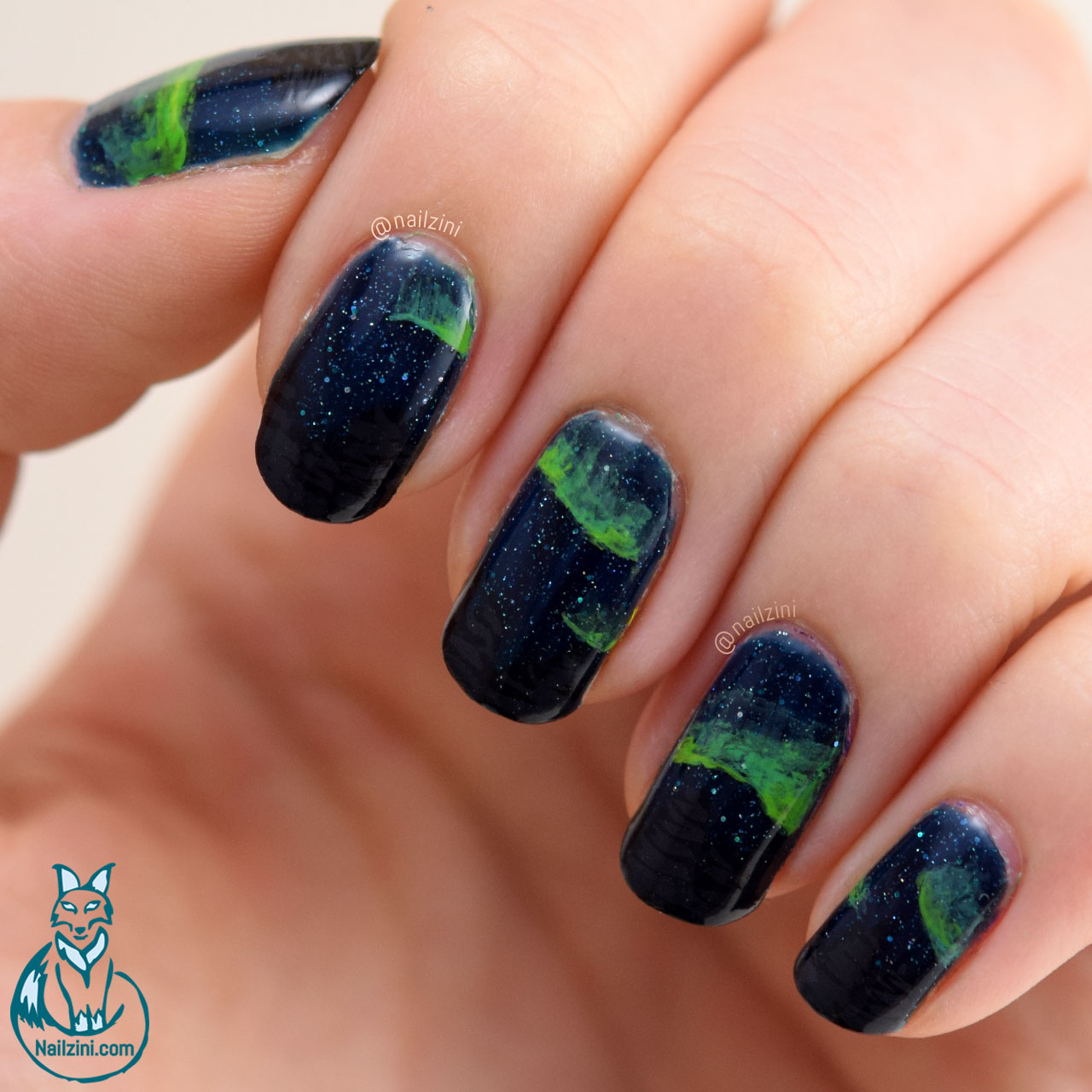 Easy Northern Lights Nail Art Nailzini