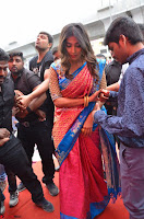Puja Hegde looks stunning in Red saree at launch of Anutex shopping mall ~ Celebrities Galleries 146.JPG