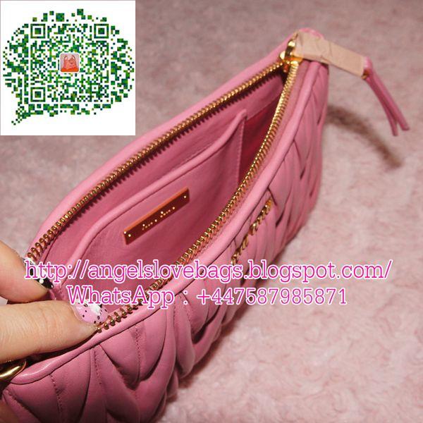 SALES - 40% Off❣ MIU MIU Matelasse Leather Wristlet Pouch Bag - Pink 602a7452d