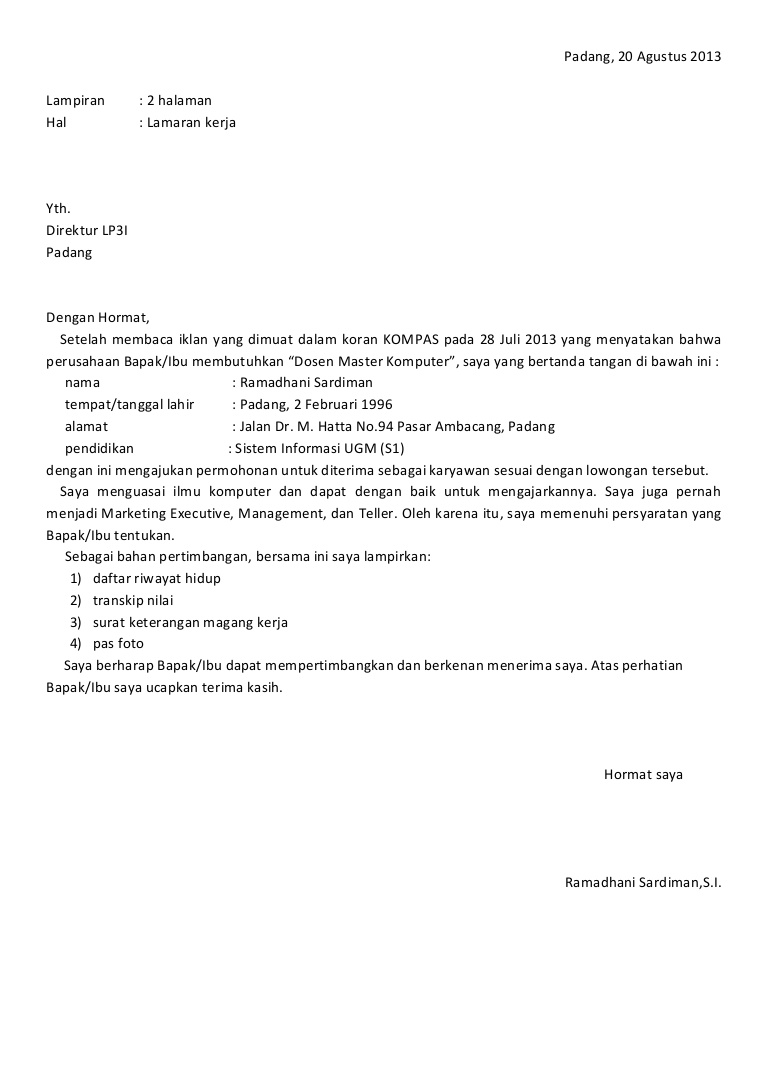 Contoh Surat Lamaran Berdasarkan Inisiatif Sendiri Contoh Tab