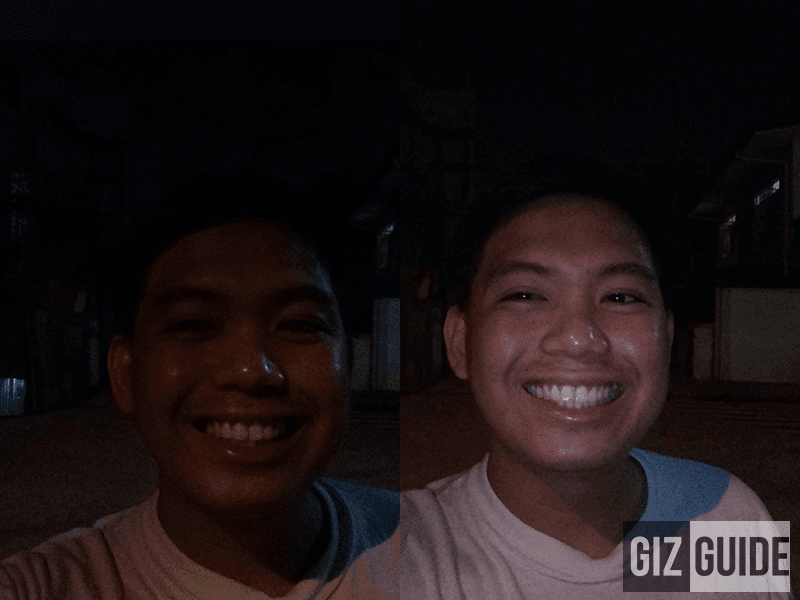 Lowlight without and with flash
