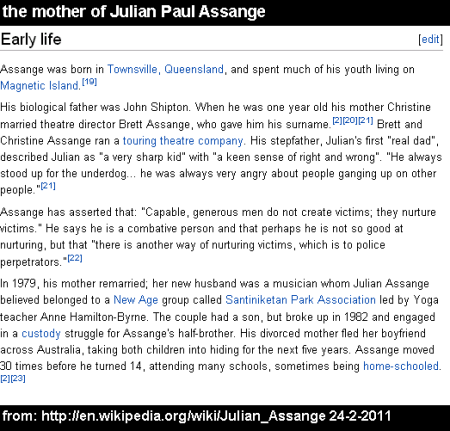 the mother of Julian Paul Assange