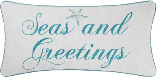 Seas and Greetings Christmas Pillow