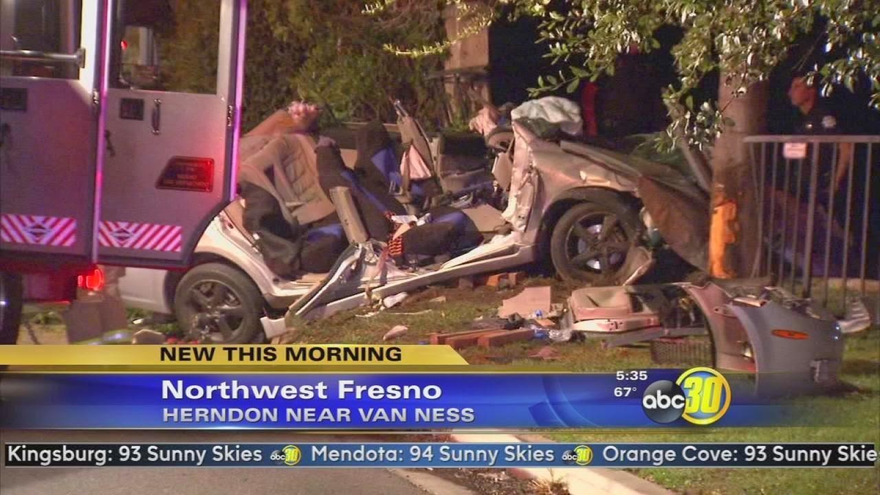 fresno car crash herndon van ness avenue three injured tree wall