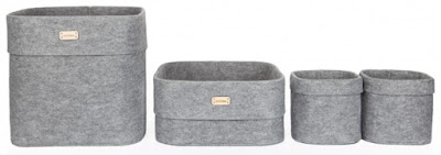 felt boxes, gray, three sizes