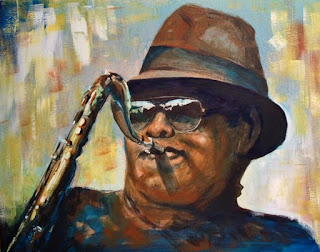 acrylic painting of sax player by artist, George Zantua