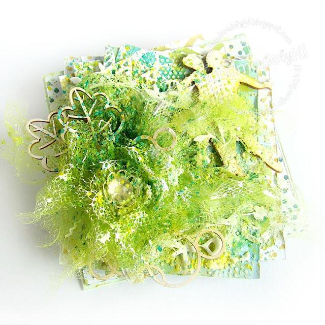 piękna kartka w różnych odcieniach zieleni