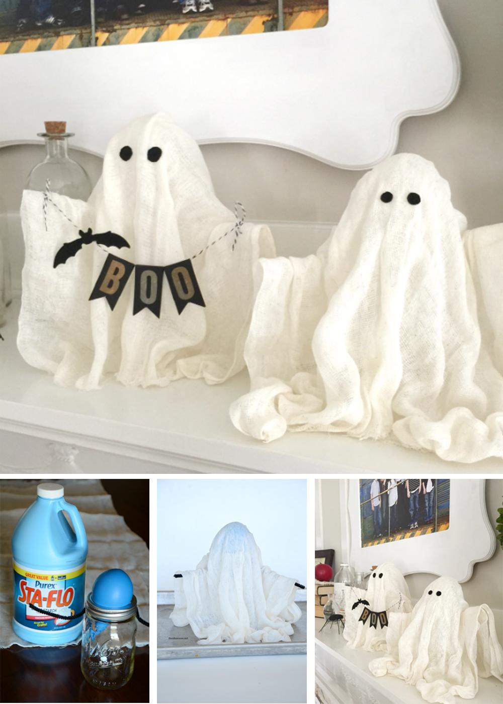 diy para decorar en halloween con fantasmas espeluznantes de gasas y flotantes fácil y lowcost