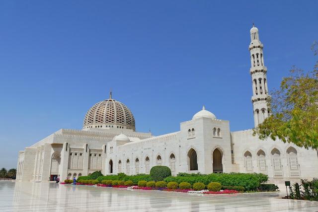 Sultan, Qabus, gross, Moschee, Muscat, Oman, weiss, Garten