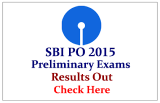 SBI PO Prelims Exam 2015 Results Out