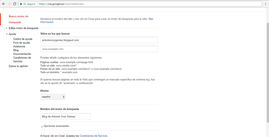 Crear un motor de búsqueda personalizado