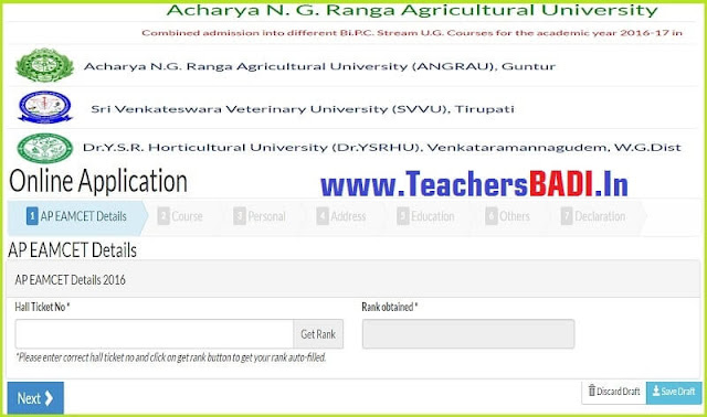 Online application form,Agriculture Degree admissions,ANGRAU