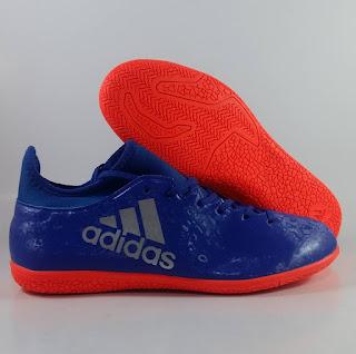 Adidas X16.3 blue orange IC Sepatu Futsal Premium, harga adidas x16 futsal , jual adidas x, adidas x futsal replika, premium , import