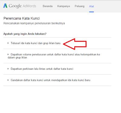 cara menentukan kata kunci Google Keywords Planner