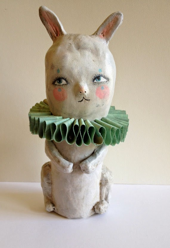 paper mache, bunny, Sarah Hand, Etsy, Hearts and Needles