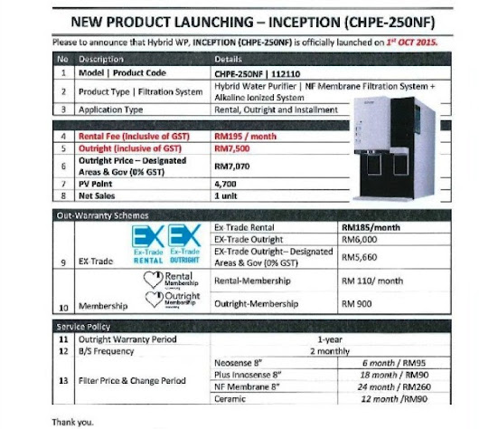 Penapis Air Coway - MODEL INCEPTION (ALKALINE WATER)