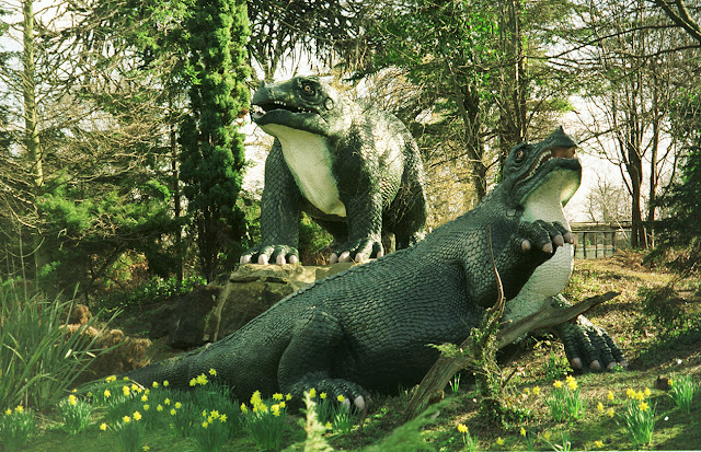 Iguanodons at Crystal Palace Park dinosaur lake, 1990s.