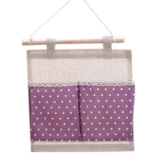 Purple bedroom ideas: wall hanging organizer