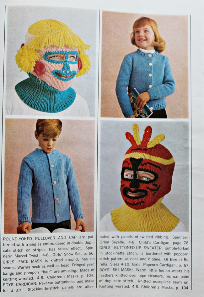 1960s vintage creepy knitted ski masks via Va-Voom Vintage