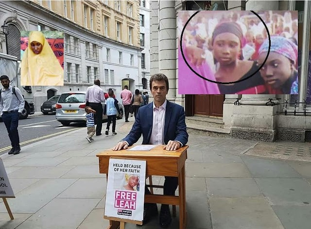 British MP Thomas Brake in front of the Nigerian High Commission London to bring attention to the #FreeLeah campaign