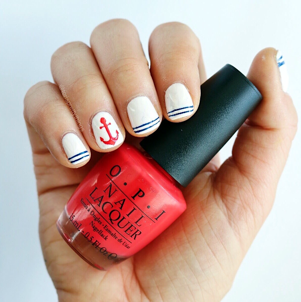 Patriotic Nail Art - Nautical Nail Art - OPI Red Lights Ahead...Where? - Tori's Pretty Things Blog