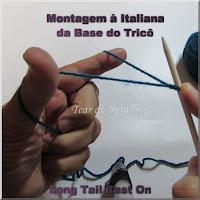 Fonto mostrando a posição inicial da montagem de pontos à italiana da base do tricô