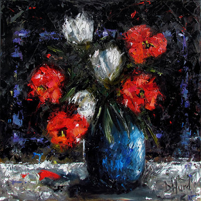 Contemporary Artists Of Texas Vase Of Flowers Floral Art Painting