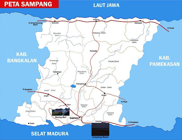 Sampang ialah sebuah kabupaten yang letaknya di sebelah utara pulau Jawa bab timur te Peta Sampang Lengkap 14 Kecamatan