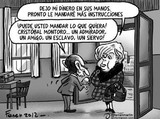 Viñeta Montoro y Merkel por Ferrán Martín